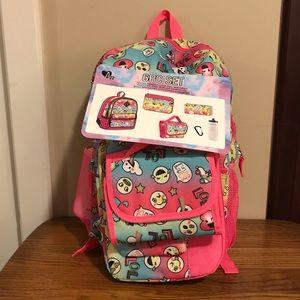 Girls 6 Piece Emoji Backpack Set